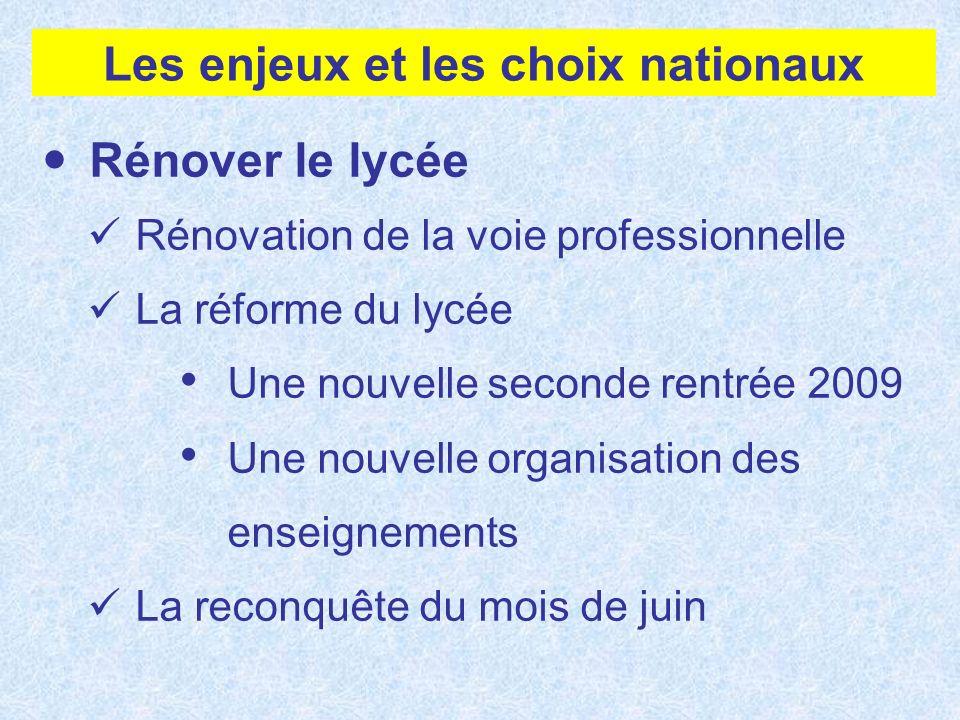Les enjeux et les choix nationaux Rénover le lycée Rénovation de la voie professionnelle La réforme du lycée Une nouvelle seconde rentrée 2009 Une nou