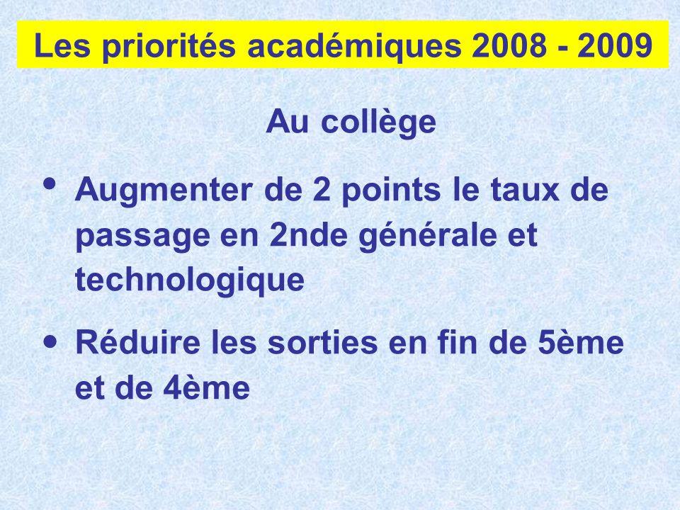 Les priorités académiques 2008 - 2009 Au collège Augmenter de 2 points le taux de passage en 2nde générale et technologique Réduire les sorties en fin