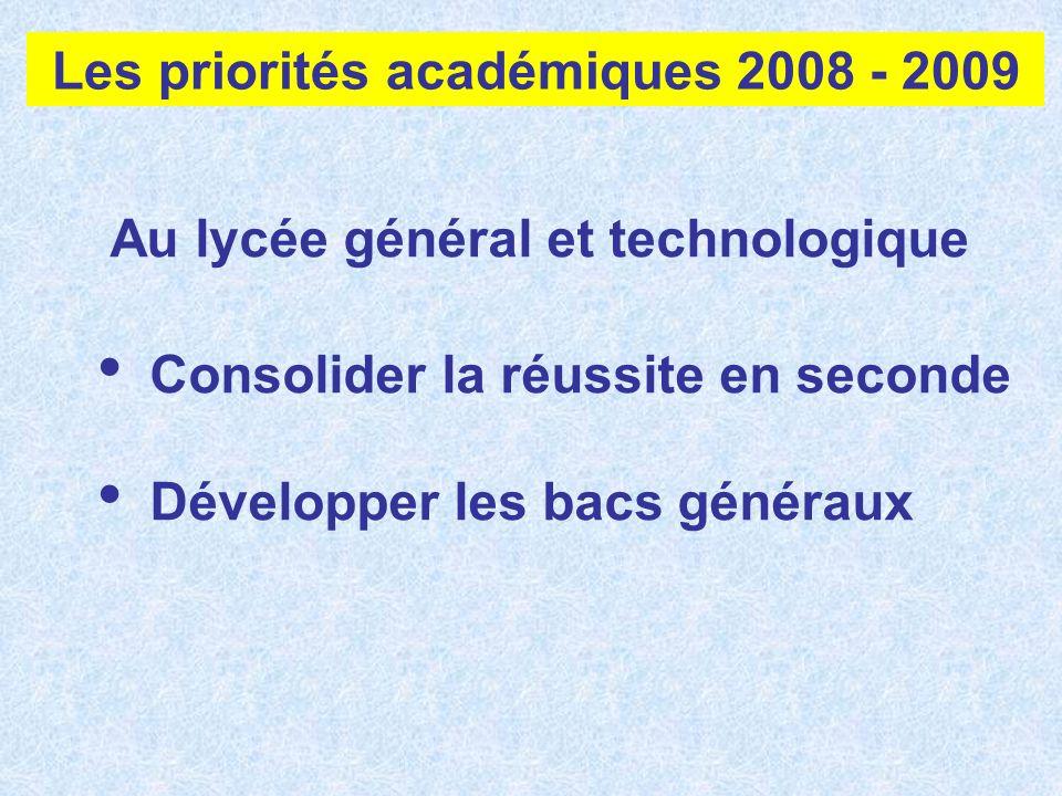Au lycée général et technologique Consolider la réussite en seconde Développer les bacs généraux Les priorités académiques 2008 - 2009