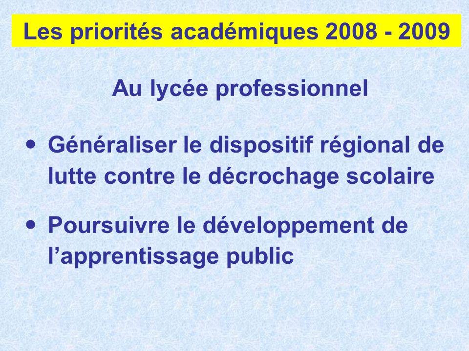Au lycée professionnel Généraliser le dispositif régional de lutte contre le décrochage scolaire Poursuivre le développement de lapprentissage public
