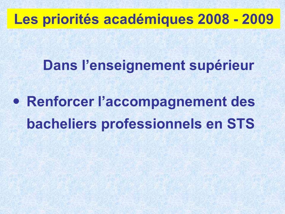 Dans lenseignement supérieur Renforcer laccompagnement des bacheliers professionnels en STS Les priorités académiques 2008 - 2009