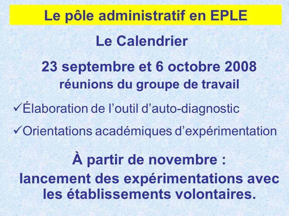 Le Calendrier 23 septembre et 6 octobre 2008 réunions du groupe de travail Élaboration de loutil dauto-diagnostic Orientations académiques dexpériment