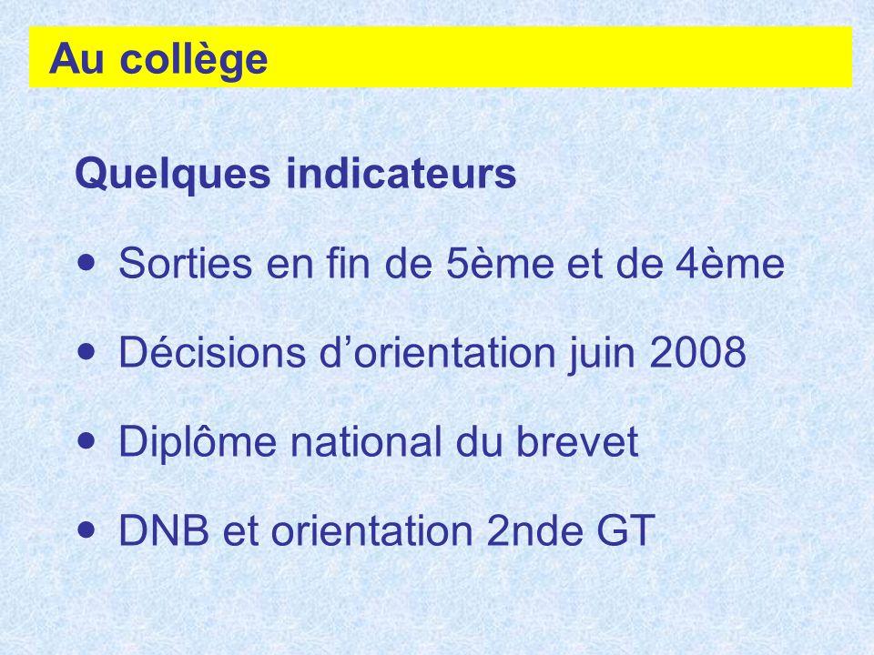 Au collège Quelques indicateurs Sorties en fin de 5ème et de 4ème Décisions dorientation juin 2008 Diplôme national du brevet DNB et orientation 2nde