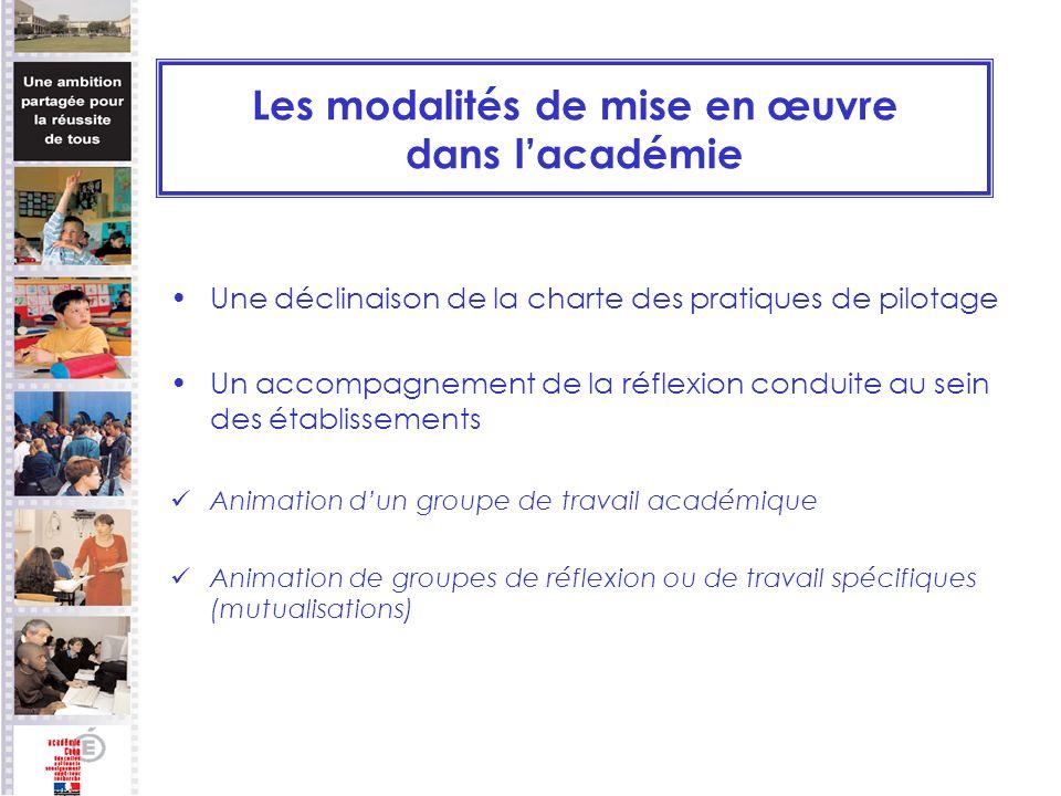 Les modalités de mise en œuvre dans lacadémie Une déclinaison de la charte des pratiques de pilotage Un accompagnement de la réflexion conduite au sei