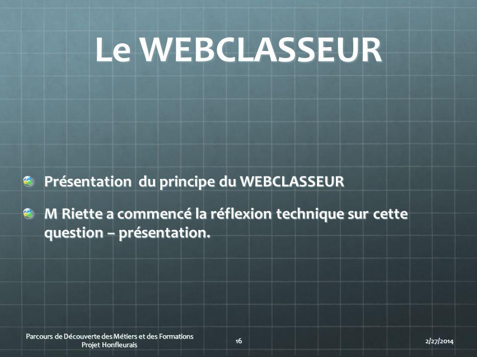 Le WEBCLASSEUR Présentation du principe du WEBCLASSEUR M Riette a commencé la réflexion technique sur cette question – présentation. Parcours de Décou