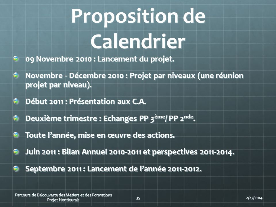 Proposition de Calendrier 09 Novembre 2010 : Lancement du projet. Novembre - Décembre 2010 : Projet par niveaux (une réunion projet par niveau). Début