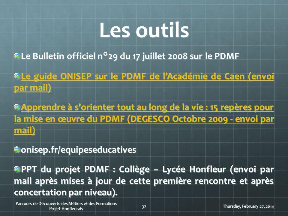 Les outils Le Bulletin officiel n°29 du 17 juillet 2008 sur le PDMF Le guide ONISEP sur le PDMF de lAcadémie de Caen (envoi par mail) Le guide ONISEP