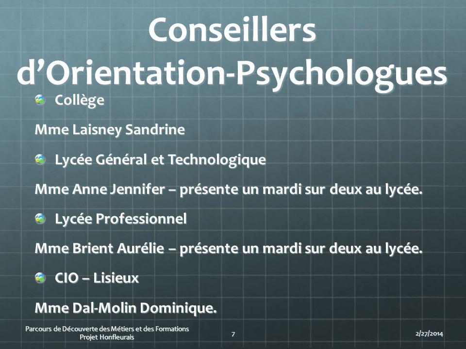 Conseillers dOrientation-Psychologues Collège Mme Laisney Sandrine Lycée Général et Technologique Mme Anne Jennifer – présente un mardi sur deux au ly