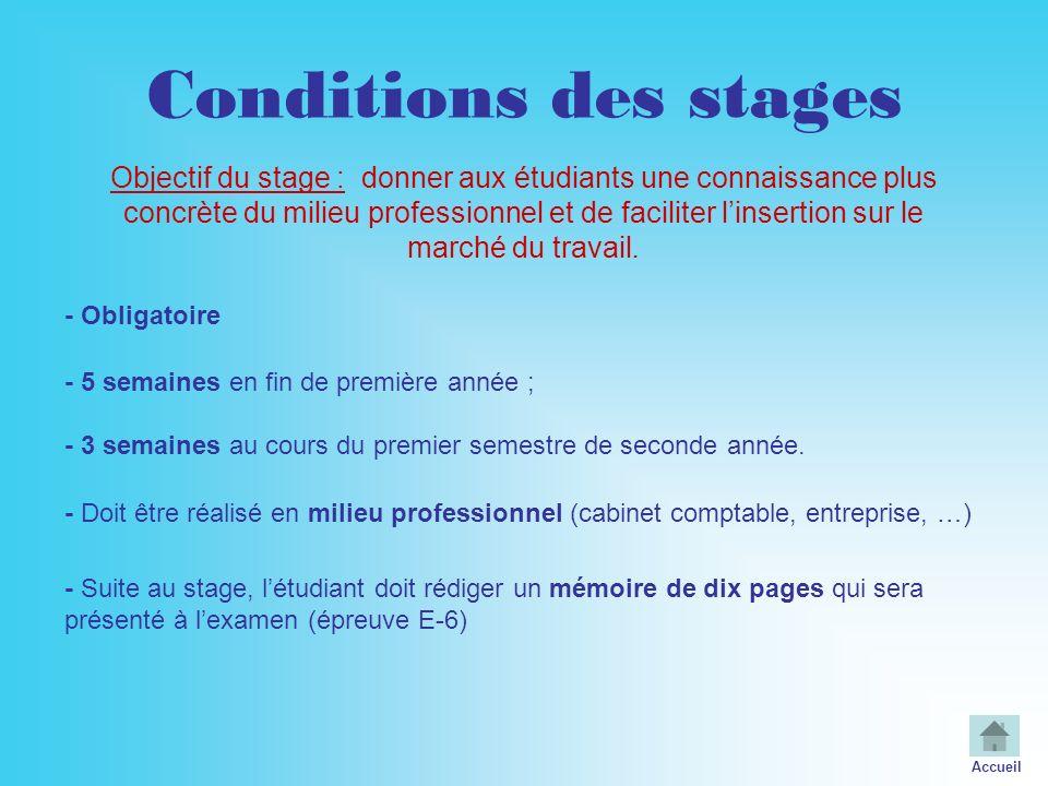 Conditions des stages - Obligatoire - Doit être réalisé en milieu professionnel (cabinet comptable, entreprise, …) Objectif du stage : donner aux étud