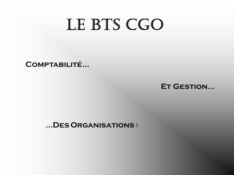 Le BTS CGO Comptabilité… Et Gestion… …Des Organisations !