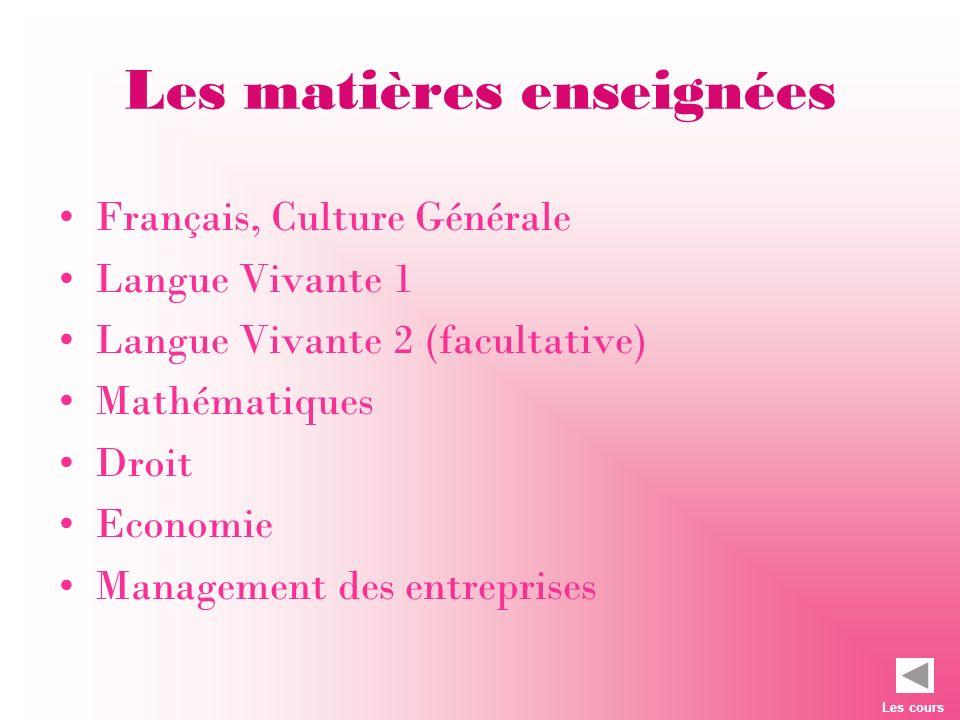 Les matières enseignées Français, Culture Générale Langue Vivante 1 Langue Vivante 2 (facultative) Mathématiques Droit Economie Management des entrepr