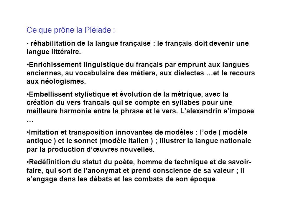 Ce que prône la Pléiade : réhabilitation de la langue française : le français doit devenir une langue littéraire. Enrichissement linguistique du franç