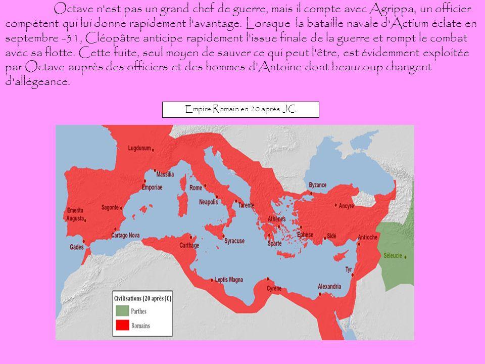 Octave n'est pas un grand chef de guerre, mais il compte avec Agrippa, un officier compétent qui lui donne rapidement l'avantage. Lorsque la bataille