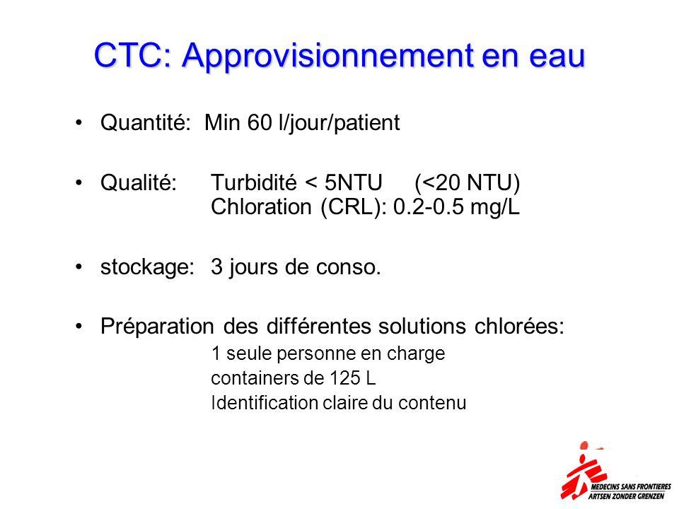 CTC: Approvisionnement en eau Quantité: Min 60 l/jour/patient Qualité: Turbidité < 5NTU(<20 NTU) Chloration (CRL): 0.2-0.5 mg/L stockage:3 jours de co