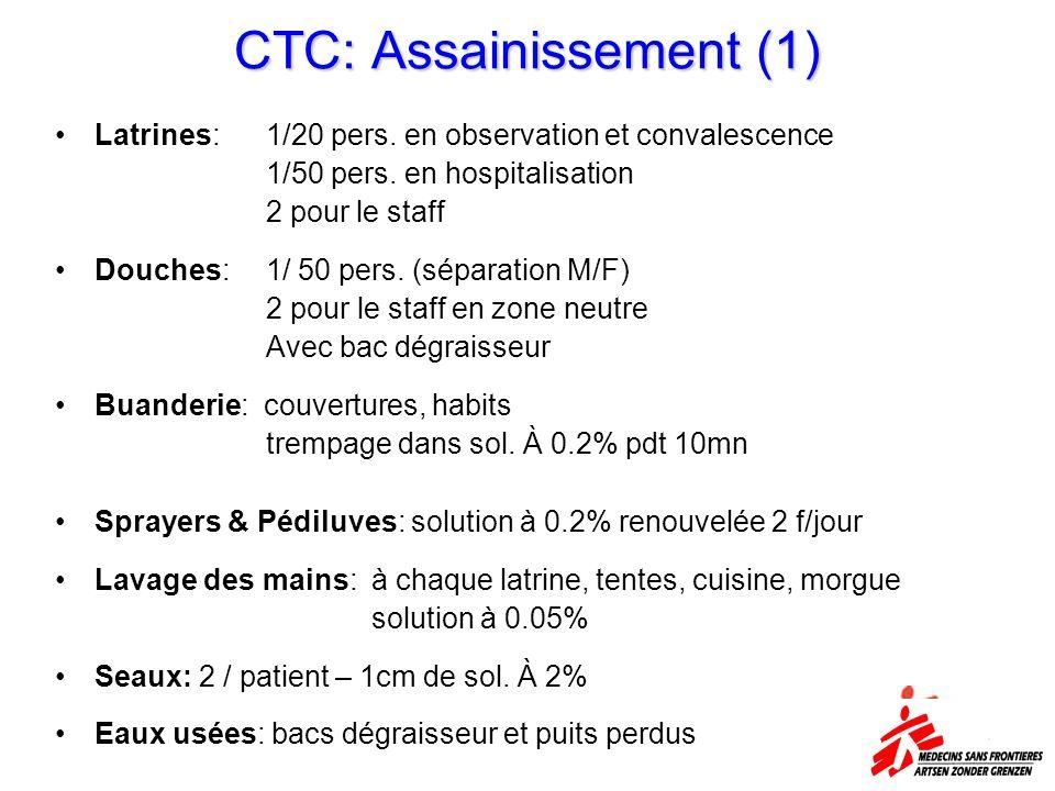 CTC: Assainissement (1) Latrines: 1/20 pers. en observation et convalescence 1/50 pers. en hospitalisation 2 pour le staff Douches: 1/ 50 pers. (sépar