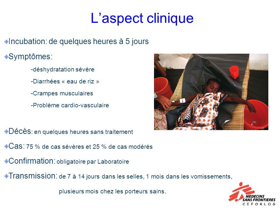 Laspect clinique Incubation: de quelques heures à 5 jours Symptômes: -déshydratation sévère -Diarrhées « eau de riz » -Crampes musculaires -Problème c