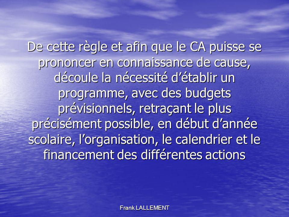 Frank LALLEMENT De cette règle et afin que le CA puisse se prononcer en connaissance de cause, découle la nécessité détablir un programme, avec des bu