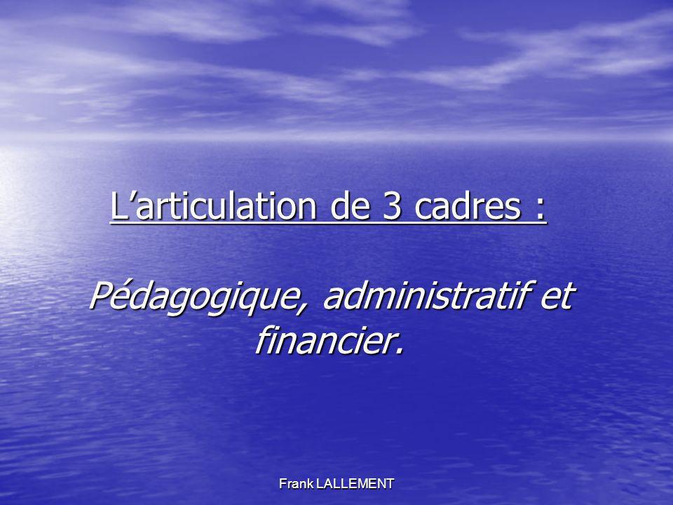 Larticulation de 3 cadres : Pédagogique, administratif et financier.