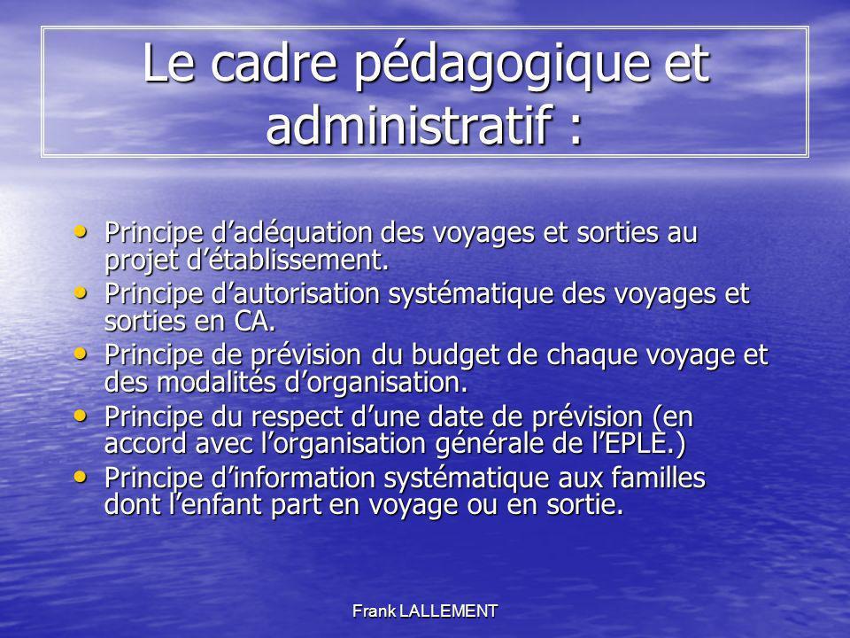 Frank LALLEMENT Le cadre pédagogique et administratif : Principe dadéquation des voyages et sorties au projet détablissement. Principe dadéquation des