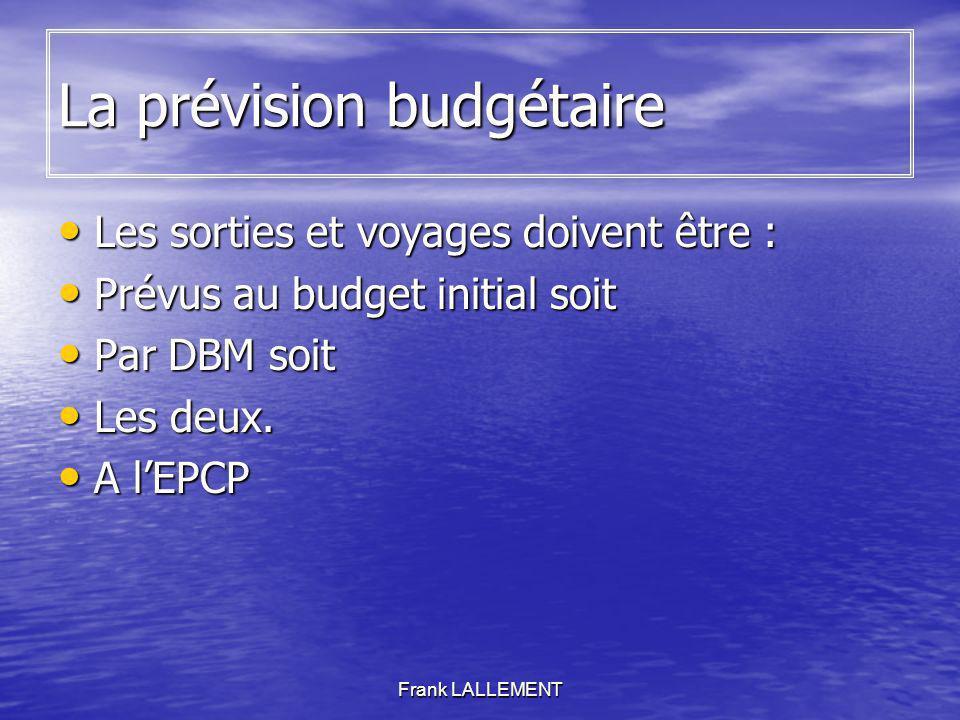 Frank LALLEMENT La prévision budgétaire Les sorties et voyages doivent être : Les sorties et voyages doivent être : Prévus au budget initial soit Prév