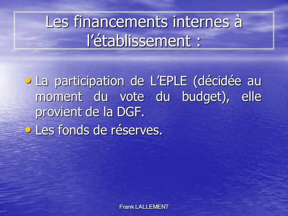 Frank LALLEMENT Les financements internes à létablissement : La participation de LEPLE (décidée au moment du vote du budget), elle provient de la DGF.
