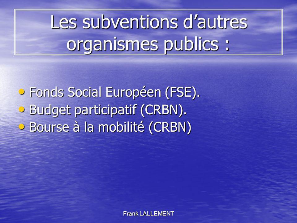 Frank LALLEMENT Les subventions dautres organismes publics : Fonds Social Européen (FSE). Fonds Social Européen (FSE). Budget participatif (CRBN). Bud