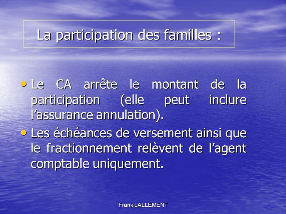 Frank LALLEMENT La participation des familles : Le CA arrête le montant de la participation (elle peut inclure lassurance annulation). Le CA arrête le