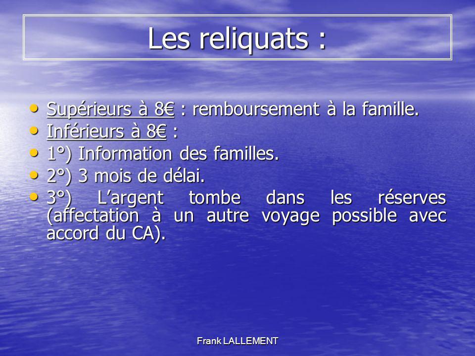 Frank LALLEMENT Les reliquats : Supérieurs à 8 : remboursement à la famille. Supérieurs à 8 : remboursement à la famille. Inférieurs à 8 : Inférieurs