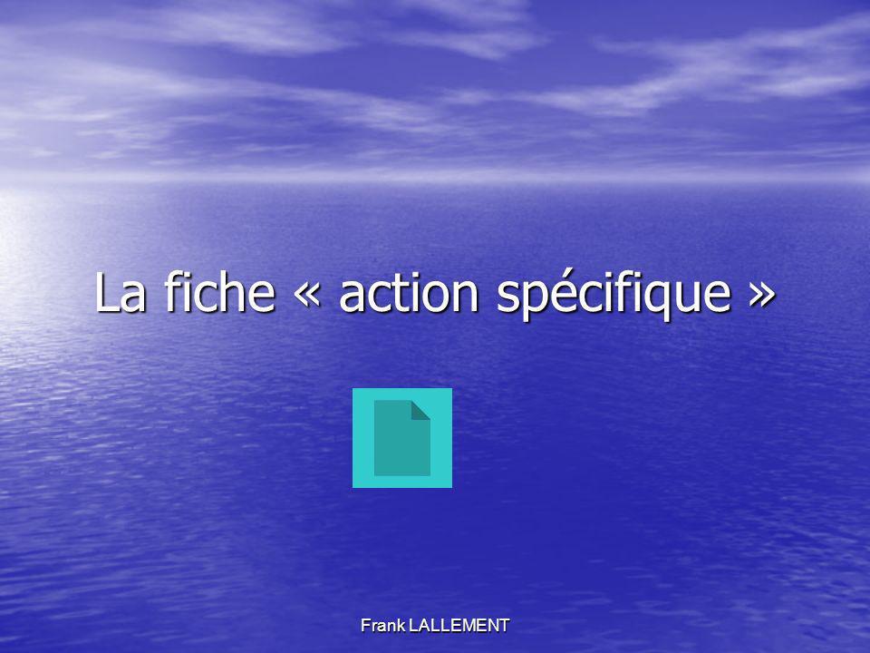 Frank LALLEMENT La fiche « action spécifique »