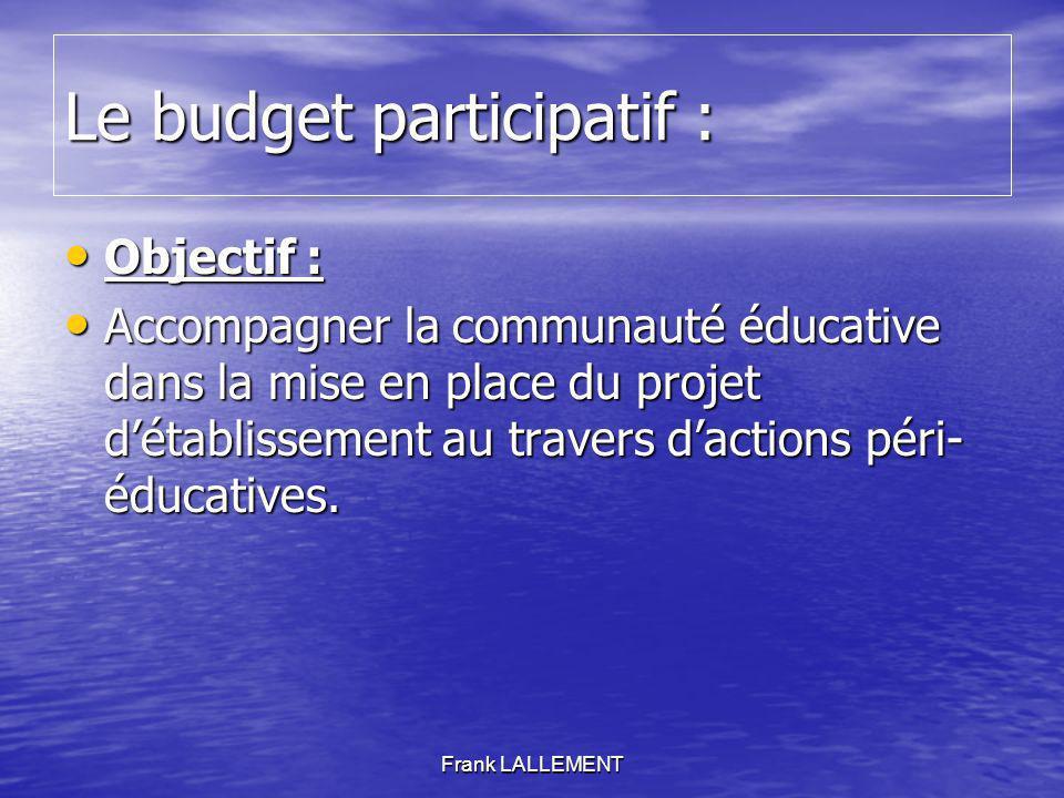 Le budget participatif : Objectif : Objectif : Accompagner la communauté éducative dans la mise en place du projet détablissement au travers dactions