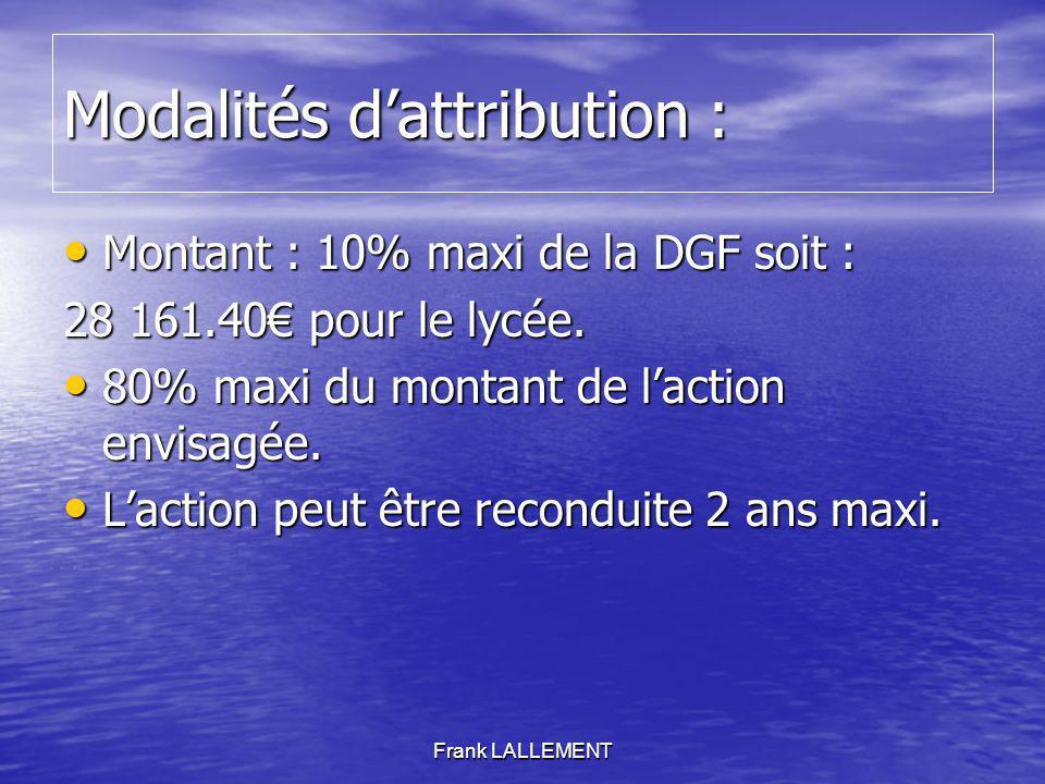 Modalités dattribution : Montant : 10% maxi de la DGF soit : Montant : 10% maxi de la DGF soit : 28 161.40 pour le lycée. 80% maxi du montant de lacti