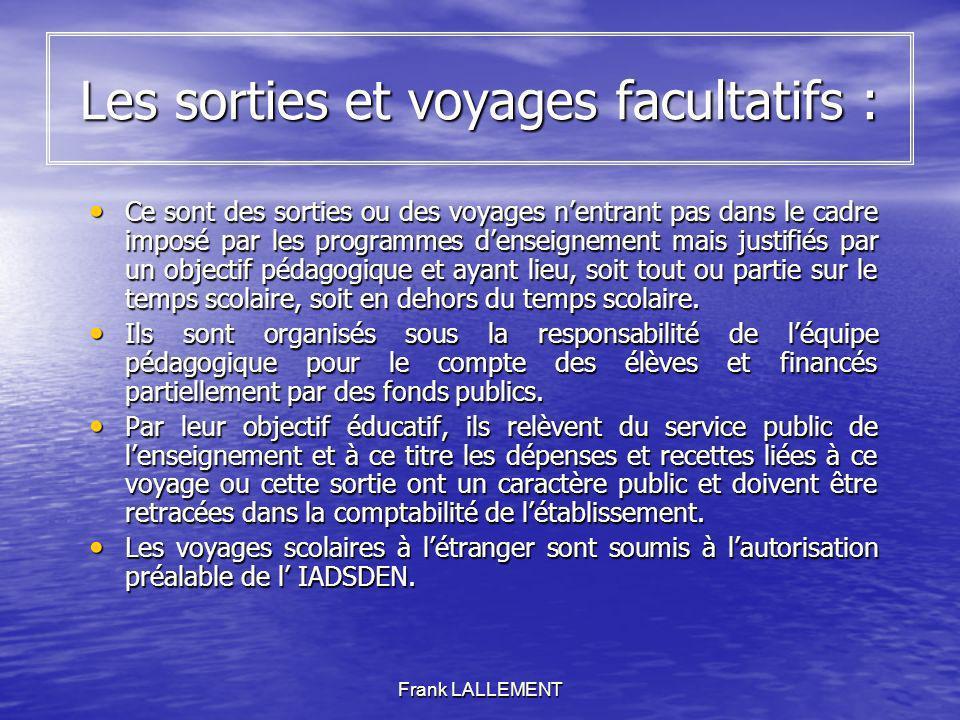 Frank LALLEMENT Les sorties et voyages facultatifs : Ce sont des sorties ou des voyages nentrant pas dans le cadre imposé par les programmes denseigne