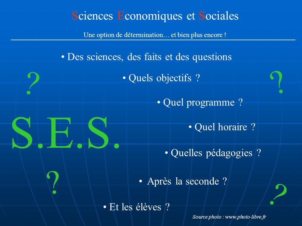 Sciences Economiques et Sociales Une option de détermination… et bien plus encore ! Quels objectifs ? Quel programme ? Quel horaire ? Quelles pédagogi