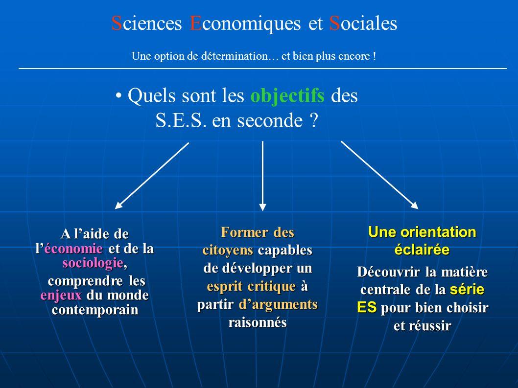 Quels sont les objectifs des S.E.S. en seconde ? Sciences Economiques et Sociales Une option de détermination… et bien plus encore ! A laide de lécono