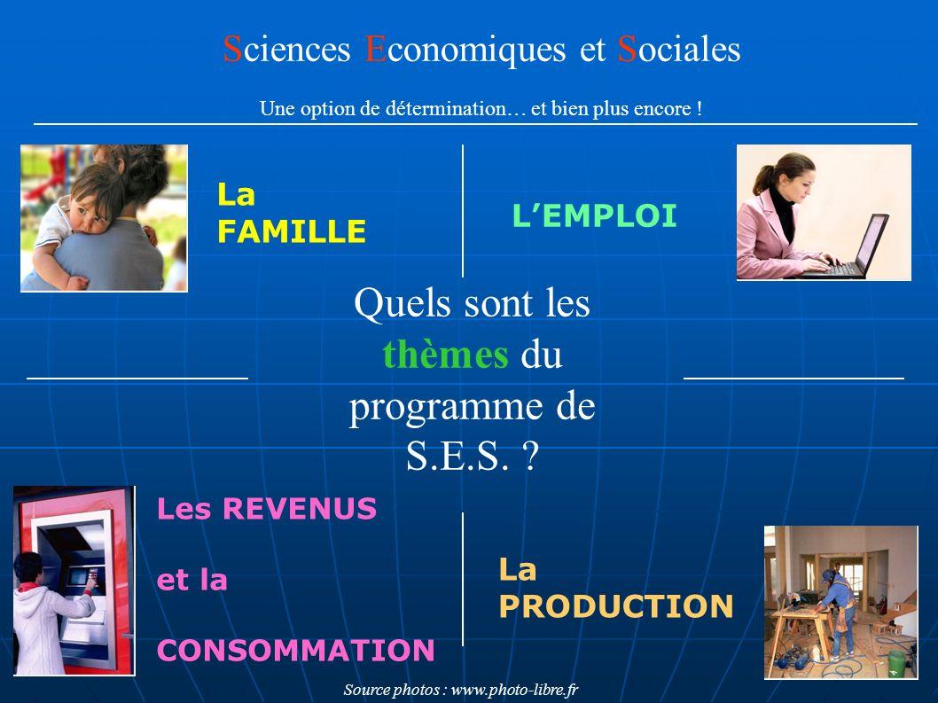 Quels sont les thèmes du programme de S.E.S. ? Sciences Economiques et Sociales Une option de détermination… et bien plus encore ! LEMPLOI La FAMILLE