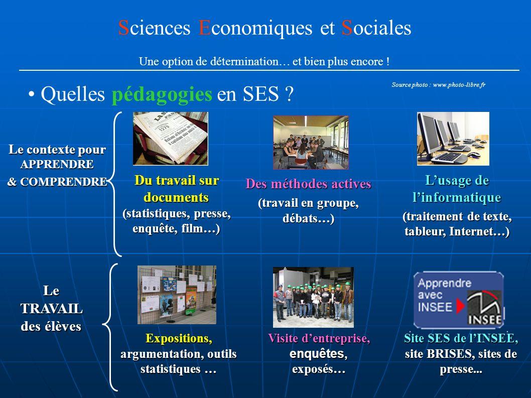 Quelles pédagogies en SES ? Sciences Economiques et Sociales Une option de détermination… et bien plus encore ! Du travail sur documents (statistiques