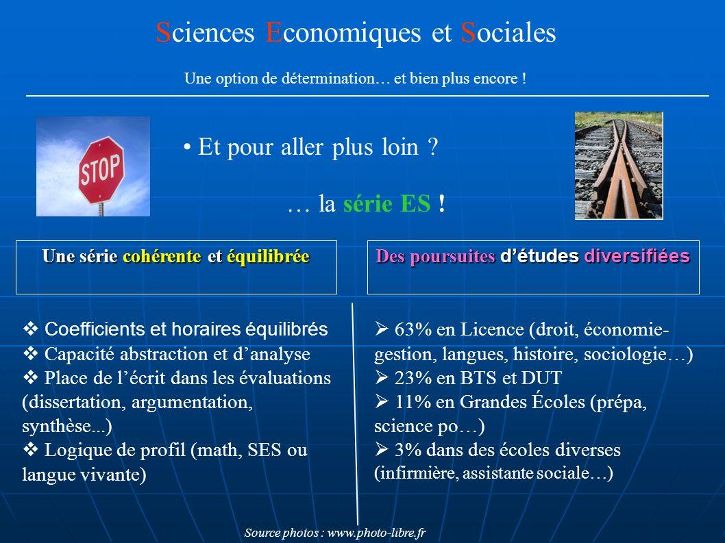 Et pour aller plus loin ? Sciences Economiques et Sociales Une option de détermination… et bien plus encore ! … la série ES ! 63% en Licence (droit, é