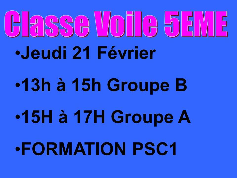 Jeudi 21 Février 13h à 15h Groupe B 15H à 17H Groupe A FORMATION PSC1