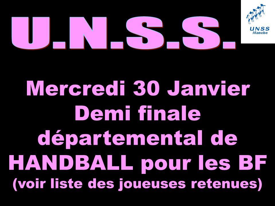 Mercredi 30 Janvier Demi finale départemental de HANDBALL pour les BF (voir liste des joueuses retenues)