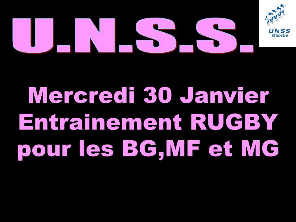 Mercredi 30 Janvier Entrainement RUGBY pour les BG,MF et MG