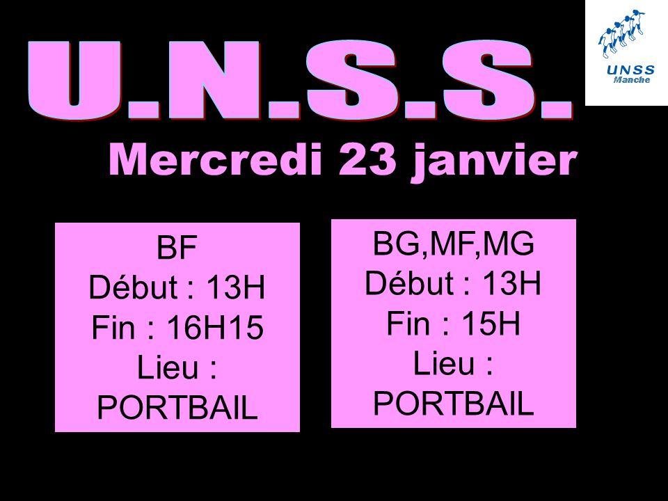 Mercredi 23 janvier BF Début : 13H Fin : 16H15 Lieu : PORTBAIL BG,MF,MG Début : 13H Fin : 15H Lieu : PORTBAIL