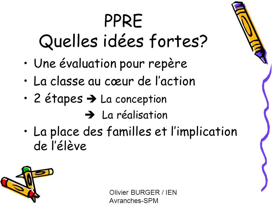 Olivier BURGER / IEN Avranches-SPM PPRE Quelles idées fortes? Une évaluation pour repère La classe au cœur de laction 2 étapes La conception La réalis