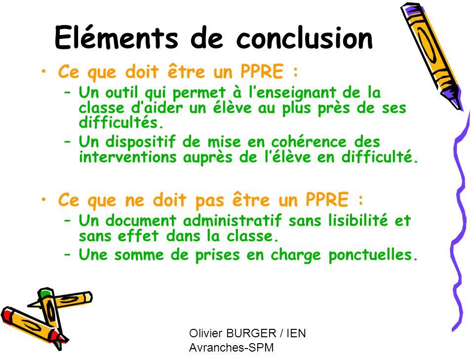 Olivier BURGER / IEN Avranches-SPM Eléments de conclusion Ce que doit être un PPRE : –Un outil qui permet à lenseignant de la classe daider un élève a
