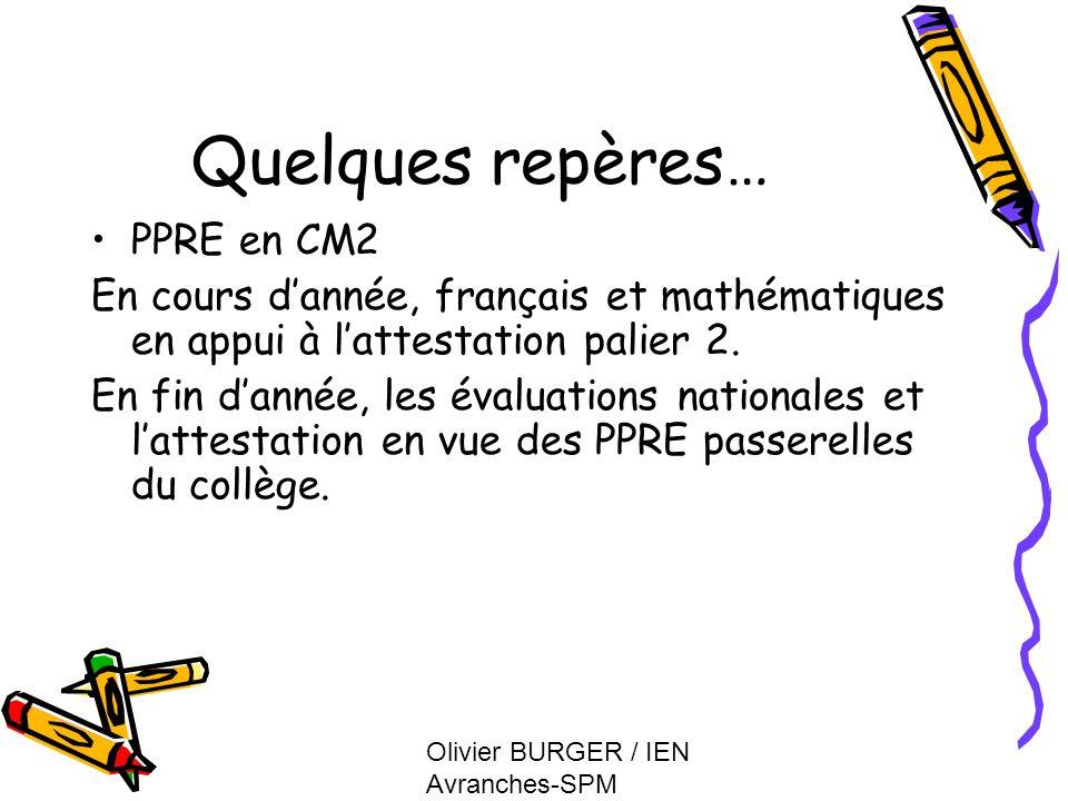 Olivier BURGER / IEN Avranches-SPM Quelques repères… PPRE en CM2 En cours dannée, français et mathématiques en appui à lattestation palier 2. En fin d