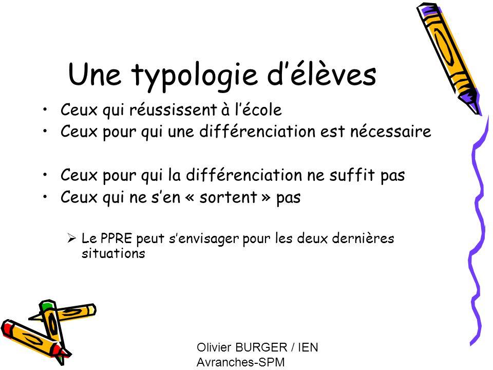 Olivier BURGER / IEN Avranches-SPM Une typologie délèves Ceux qui réussissent à lécole Ceux pour qui une différenciation est nécessaire Ceux pour qui