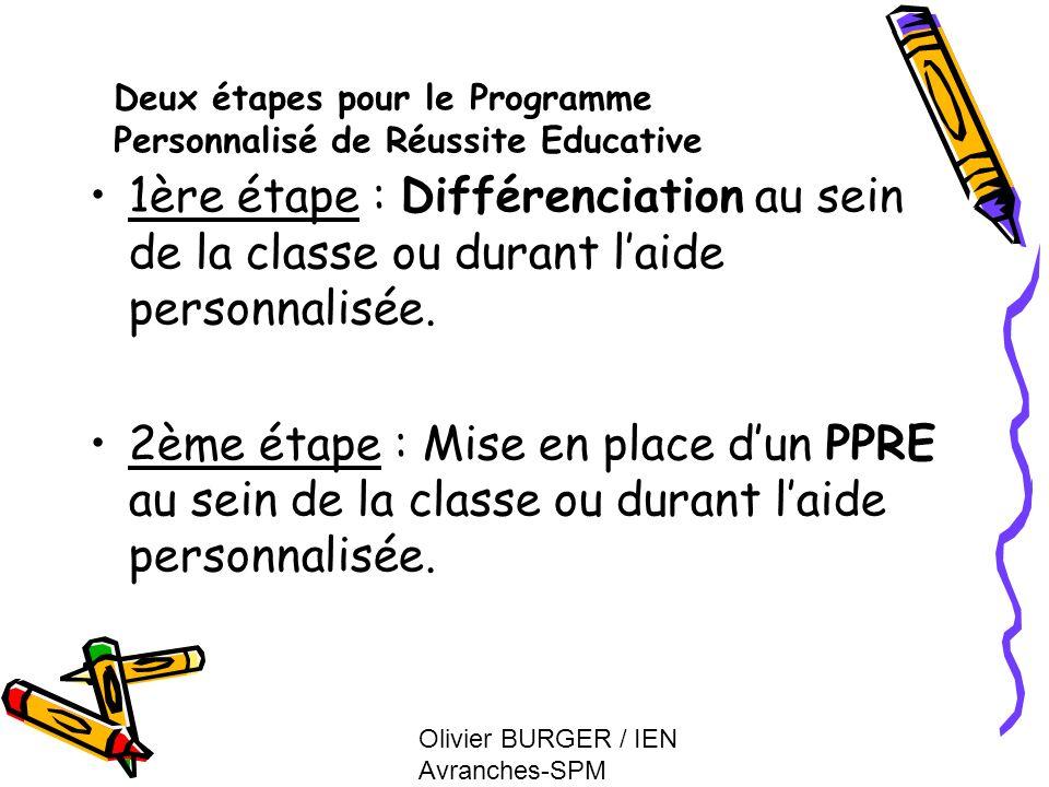Olivier BURGER / IEN Avranches-SPM 1ère étape : Différenciation au sein de la classe ou durant laide personnalisée. 2ème étape : Mise en place dun PPR