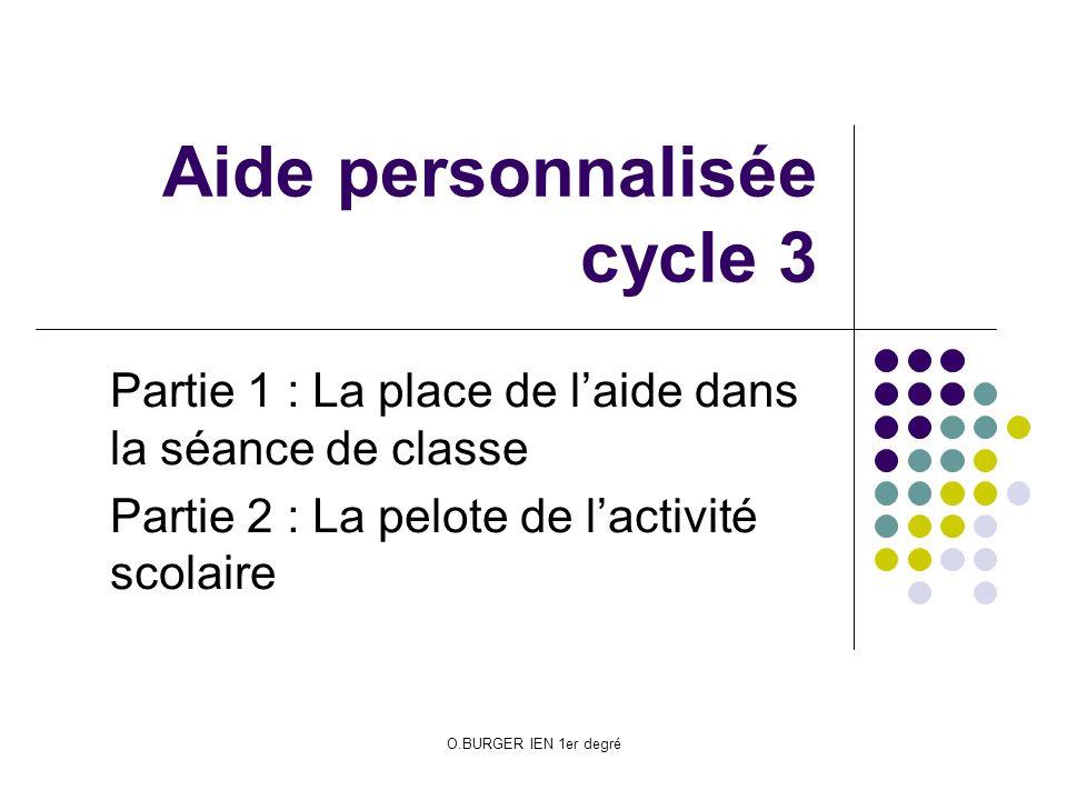 O.BURGER IEN 1er degré Aide personnalisée cycle 3 Partie 1 : La place de laide dans la séance de classe Partie 2 : La pelote de lactivité scolaire