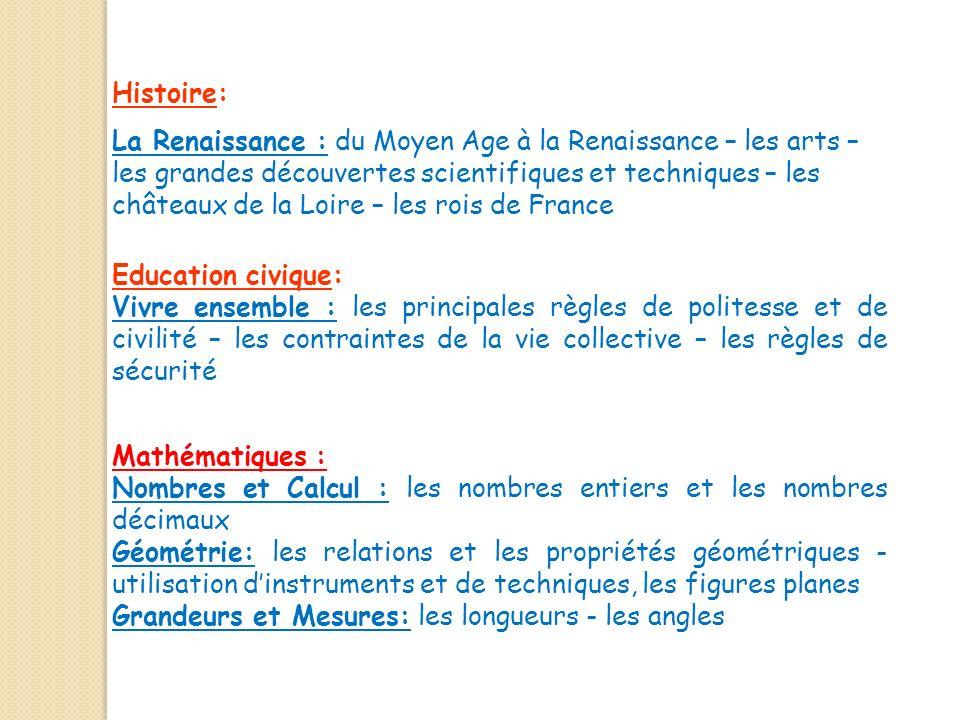 Histoire: La Renaissance : du Moyen Age à la Renaissance – les arts – les grandes découvertes scientifiques et techniques – les châteaux de la Loire –