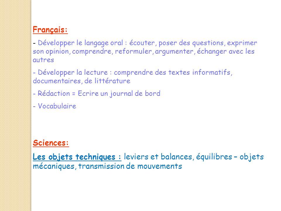Français: - Développer le langage oral : écouter, poser des questions, exprimer son opinion, comprendre, reformuler, argumenter, échanger avec les aut