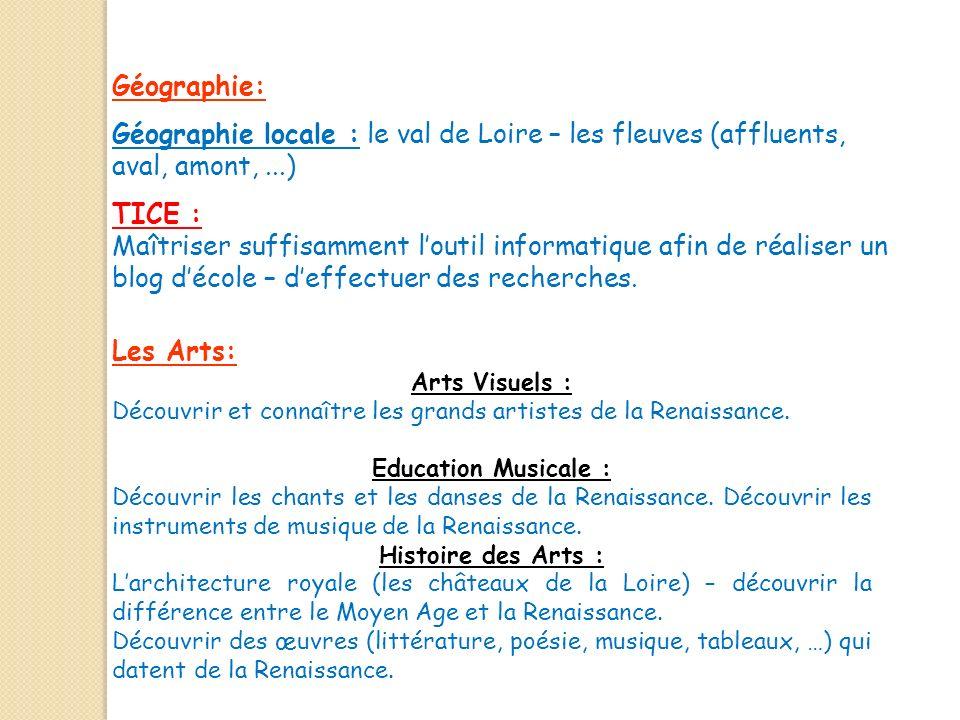 Géographie: Géographie locale : le val de Loire – les fleuves (affluents, aval, amont,...) Les Arts: Arts Visuels : Découvrir et connaître les grands